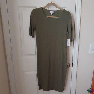 NWT LuLaRoe Julia green ribbed midi dress medium